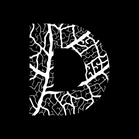 Nature alphabet, ecology decorative font. Capital letter D filled with leaf veins pattern white on black background. Leaves texture hand draw nature alphabet. Vector illustration.