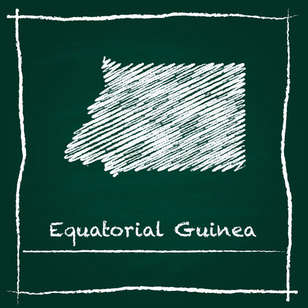 Equatorial Guinea outline vector map hand drawn with chalk on a green blackboard. Chalkboard scribble in childish style. White chalk texture on green background.