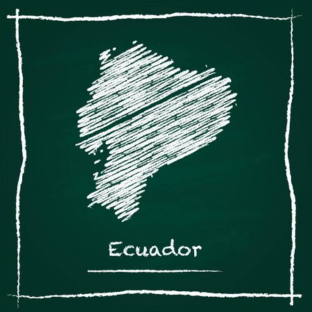 Ecuador outline vector map hand drawn with chalk on a green blackboard. Chalkboard scribble in childish style. White chalk texture on green background.