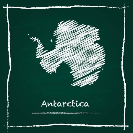 antarctica: Antarctica outline vector map hand drawn with chalk on a green blackboard. Chalkboard scribble in childish style. White chalk texture on green background. Illustration