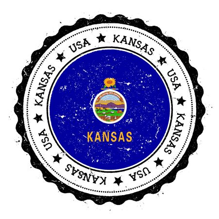 Kansas flag badge. Grunge rubber stamp with Kansas flag. Vintage travel stamp with circular text, stars and USA state flag inside it. Vector illustration.