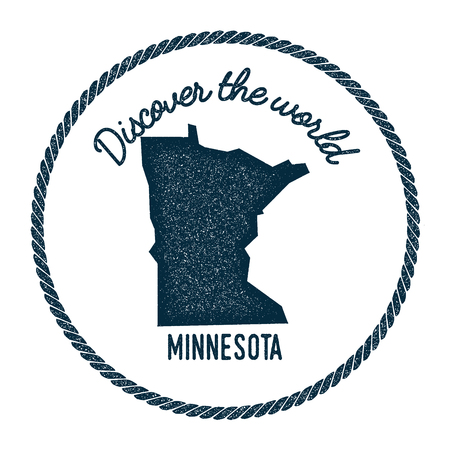 Minnesota map in vintage discover the world rubber stamp. Hipster style nautical postage stamp, with round rope border. Vector illustration.