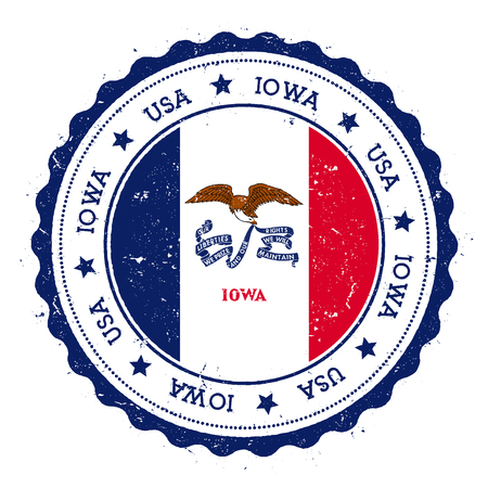 nationalism: Iowa flag badge. Grunge rubber stamp with Iowa flag. Vintage travel stamp with circular text, stars and USA state flag inside it. Vector illustration. Illustration