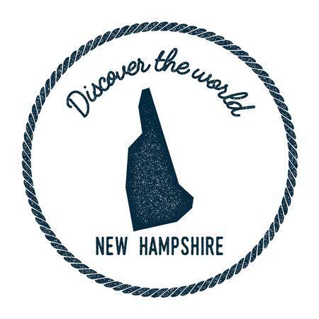 homeland: New Hampshire map in vintage discover the world rubber stamp. Hipster style nautical postage stamp, with round rope border. Vector illustration. Illustration