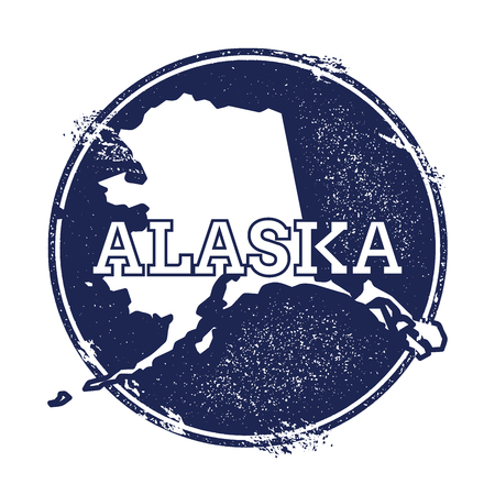 Alaska vector map. Grunge rubber stamp with the name and map of Alaska, vector illustration. Can be used as insignia, logotype, label, sticker or badge of USA state. Illustration