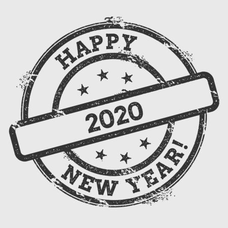 embossed: Happy 2020 New Year!. Rubber stamp isolated on white background. Grunge round seal with text, ink texture and splatter and blots, vector illustration.