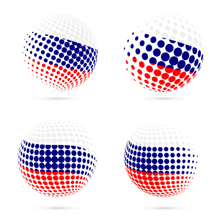 Russia halftone flag set patriotic vector design. 3D halftone sphere in Russia national flag colors isolated on white background.