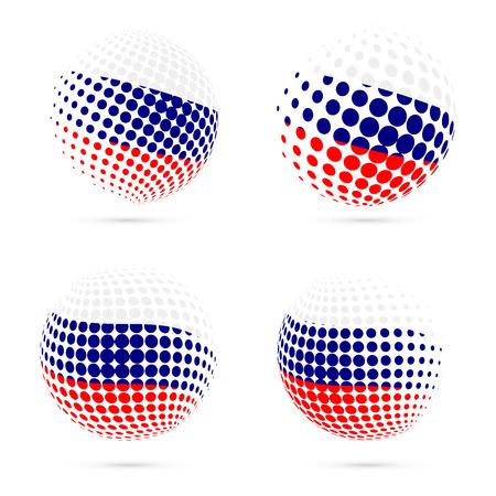 Rusland halftone vlag set patriottische vector design. 3D halftone bol in Rusland nationale vlag kleuren geïsoleerd op een witte achtergrond.