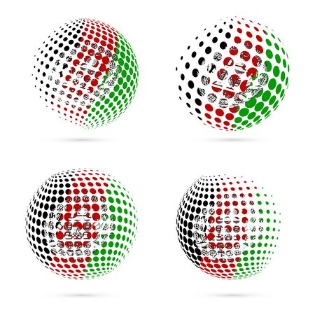 Afghanistan halftone flag set patriotic vector design. 3D halftone sphere in Afghanistan national flag colors isolated on white background.