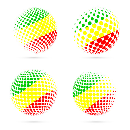 Congo halftone flag set patriotic vector design. 3D halftone sphere in Congo national flag colors isolated on white background. Illustration
