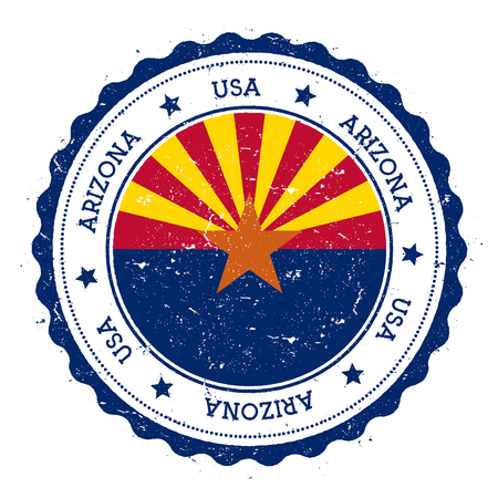 Distintivo della bandiera dell'Arizona. Timbro di gomma grunge con bandiera dell'Arizona. Timbro di viaggio d'epoca con testo circolare, stelle e bandiera di stato USA al suo interno. Illustrazione vettoriale Archivio Fotografico - 80606857