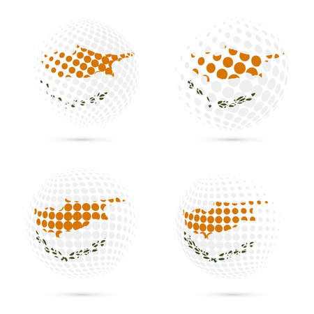 Cyprus halftone flag set patriotic vector design. 3D halftone sphere in Cyprus national flag colors isolated on white background.