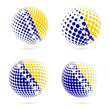Bosnia halftone flag set patriotic vector design. 3D halftone sphere in Bosnia national flag colors isolated on white background.