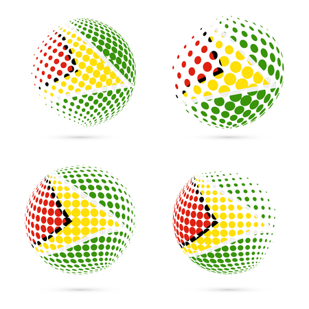 co operative: Guyana halftone flag set patriotic vector design. 3D halftone sphere in Guyana national flag colors isolated on white background.