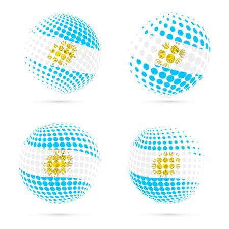 Argentina halftone flag set patriotic vector design. 3D halftone sphere in Argentina national flag colors isolated on white background. Illustration