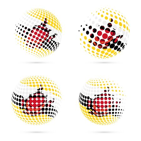 wanderlust: Brunei halftone flag set patriotic vector design. 3D halftone sphere in Brunei national flag colors isolated on white background.