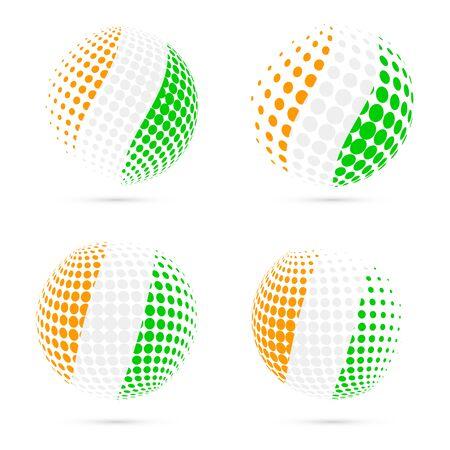 Ivory Coast halftone flag set patriotic vector design. 3D halftone sphere in Ivory Coast national flag colors isolated on white background. Ilustração