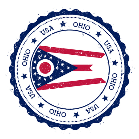 wanderlust: Ohio flag badge. Grunge rubber stamp with Ohio flag. Vintage travel stamp with circular text, stars and USA state flag inside it. Vector illustration.