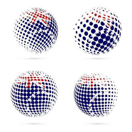 oceania: Cook Islands halftone flag set patriotic vector design. 3D halftone sphere in Cook Islands national flag colors isolated on white background.