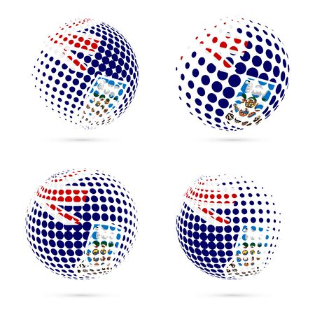 exploring: Falklands halftone flag set patriotic vector design. 3D halftone sphere in Falklands national flag colors isolated on white background.