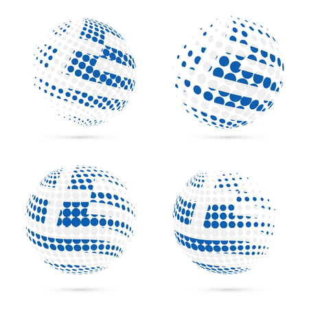 Greece halftone flag set patriotic vector design. 3D halftone sphere in Greece national flag colors isolated on white background.