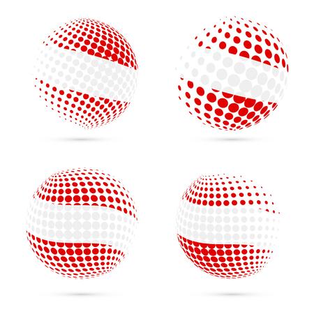 Austria halftone flag set patriotic vector design. 3D halftone sphere in Austria national flag colors isolated on white background. Illustration