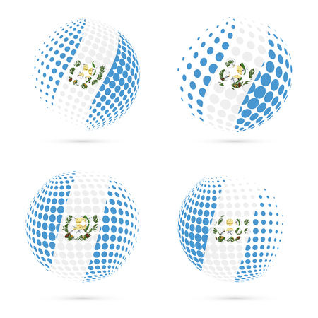 wanderlust: Guatemala halftone flag set patriotic vector design. 3D halftone sphere in Guatemala national flag colors isolated on white background.