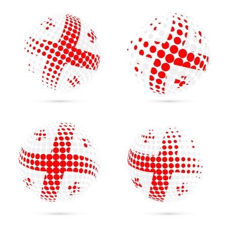 Georgia halftone flag set patriotic vector design. 3D halftone sphere in Georgia national flag colors isolated on white background.