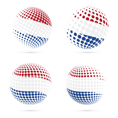 wanderlust: BES islands halftone flag set patriotic vector design. 3D halftone sphere in BES islands national flag colors isolated on white background.