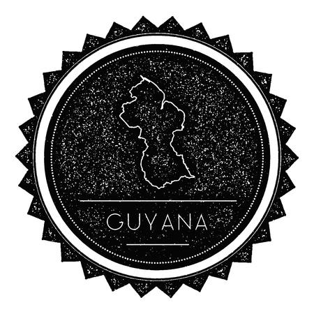 Guyana Map Label with Retro Vintage Styled Design. Hipster Grungy Guyana Map Insignia Vector Illustration. Country round sticker.