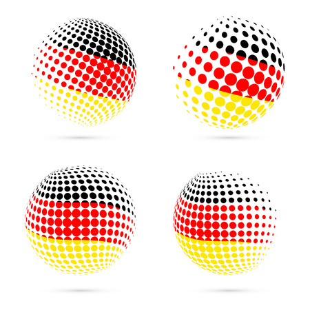 Germany halftone flag set patriotic vector design. 3D halftone sphere in Germany national flag colors isolated on white background.
