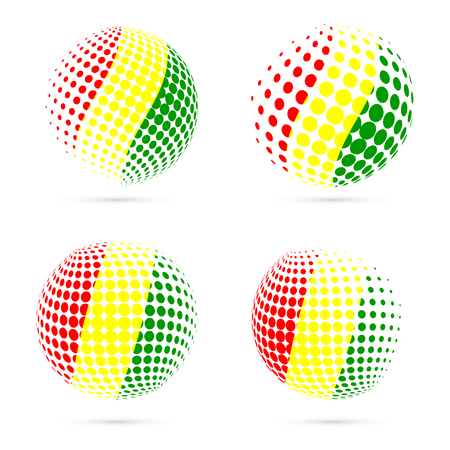 Guinea halftone flag set patriotic vector design. 3D halftone sphere in Guinea national flag colors isolated on white background.