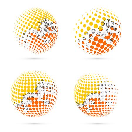 Bhutan halftone flag set patriotic vector design. 3D halftone sphere in Bhutan national flag colors isolated on white background.