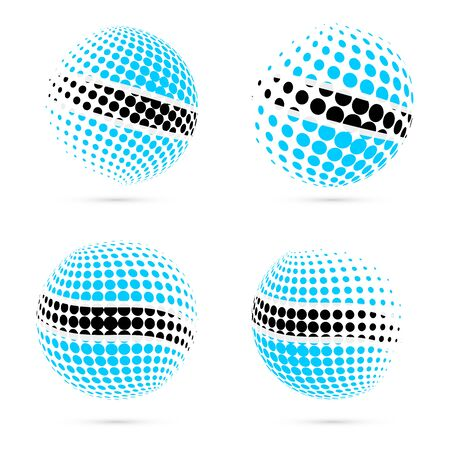 Botswana halftone flag set patriotic vector design. 3D halftone sphere in Botswana national flag colors isolated on white background.