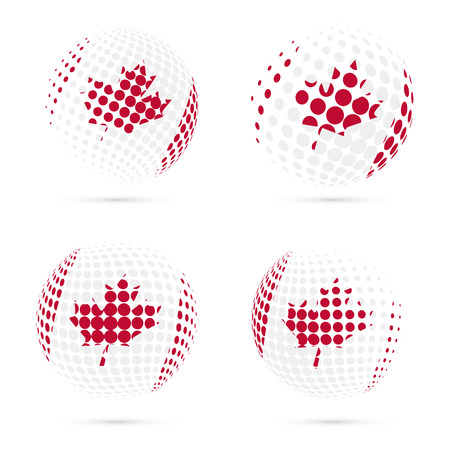 canadian flag: Canada halftone flag set patriotic vector design. 3D halftone sphere in Canada national flag colors isolated on white background.