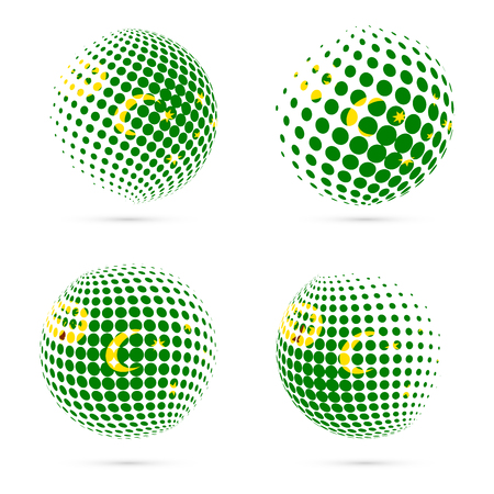 Cocos Islands halftone flag set patriotic vector design. 3D halftone sphere in Cocos Islands national flag colors isolated on white background.