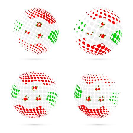 exploring: Burundi halftone flag set patriotic vector design. 3D halftone sphere in Burundi national flag colors isolated on white background.