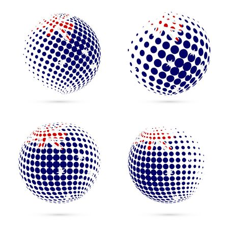 HIMI halftone flag set patriotic vector design. 3D halftone sphere in HIMI national flag colors isolated on white background.
