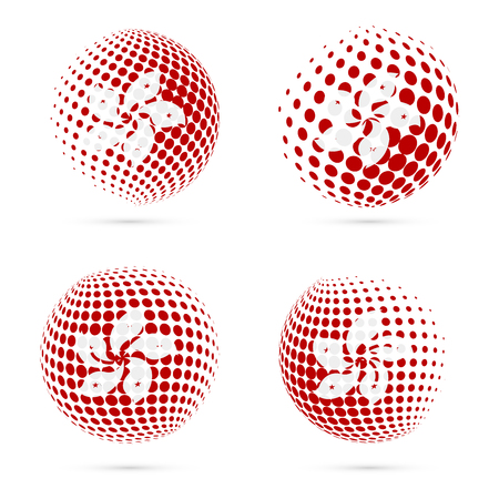 Hong Kong halftone flag set patriotic vector design. 3D halftone sphere in Hong Kong national flag colors isolated on white background. Illustration