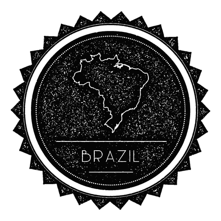 Federative Republic Of Brazil Map Label With Retro Vintage Styled - Federative republic of brazil map