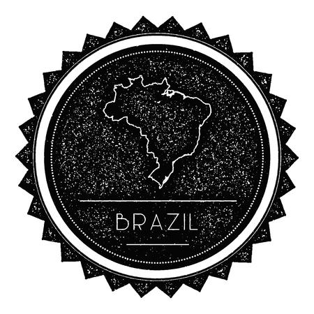 federative republic of brazil: Federative Republic of Brazil Map Label with Retro Vintage Styled Design. Hipster Grungy Federative Republic of Brazil Map Insignia Vector Illustration. Country round sticker.