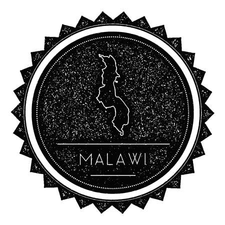 mal: Malawi Map Label with Retro Vintage Styled Design. Hipster Grungy Malawi Map Insignia Vector Illustration. Country round sticker.