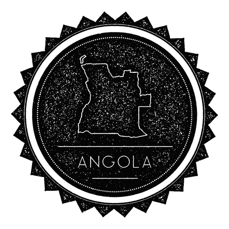 texturized: Angola Map Label with Retro Vintage Styled Design. Hipster Grungy Angola Map Insignia Vector Illustration. Country round sticker. Illustration