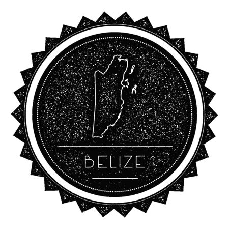 Belize Map Label with Retro Vintage Styled Design. Hipster Grungy Belize Map Insignia Vector Illustration. Country round sticker. Illustration