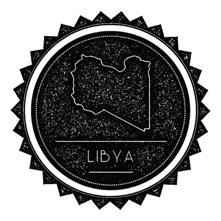 texturized: Libya Map Label with Retro Vintage Styled Design. Hipster Grungy Libya Map Insignia Vector Illustration. Country round sticker.