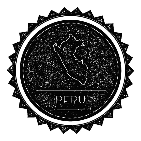 republic of peru: Peru Map Label with Retro Vintage Styled Design. Hipster Grungy Peru Map Insignia Vector Illustration. Country round sticker.