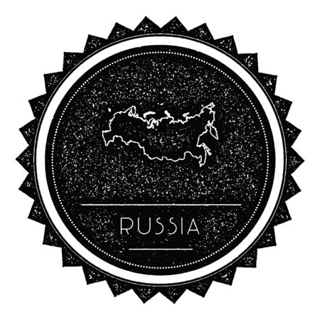 Russian Federation Map Label with Retro Vintage Styled Design. Hipster Grungy Russian Federation Map Insignia Vector Illustration. Country round sticker.