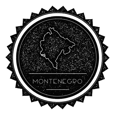 autograph: Montenegro Map Label with Retro Vintage Styled Design. Hipster Grungy Montenegro Map Insignia Vector Illustration. Country round sticker.