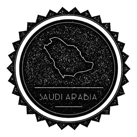 wanderlust: Saudi Arabia Map Label with Retro Vintage Styled Design. Hipster Grungy Saudi Arabia Map Insignia Vector Illustration. Country round sticker.