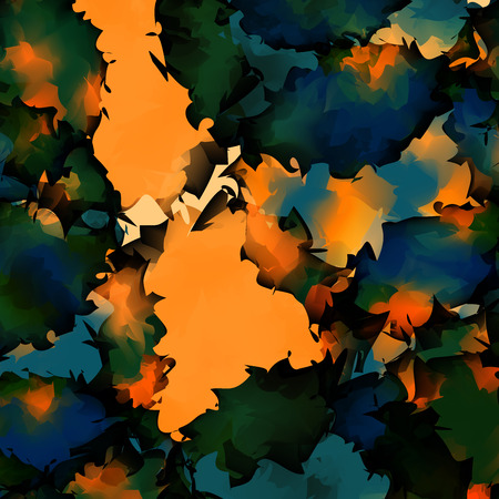 Orange green blue watercolor texture background. Pretty abstract orange green blue watercolor texture pattern. Expressive messy vector illustration.